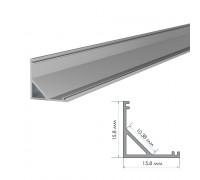 Профиль светодиодный накладной угловой ПФ-9 полуматовый рассеиватель (комплект) 2м