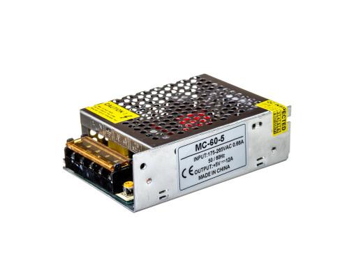 Led блок питания 5V MС/12A 60Bт IP 20