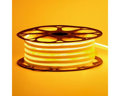 Неоновая светодиодная лента желтая 12V smd2835 120LED/m 6W/m pvc 8*16 IP65, 1м