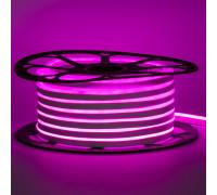 Неоновая светодиодная лента розовая 12V smd2835 120LED/m 6W/m pvc 8*16 IP65, 1м