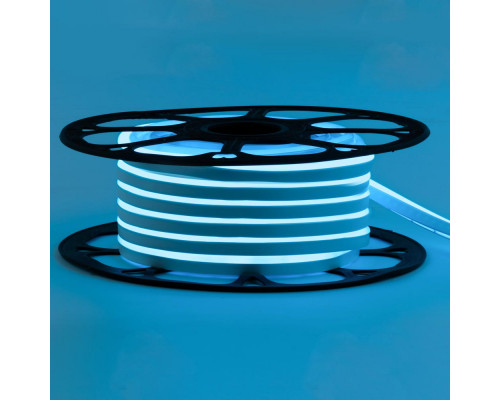 Неоновая светодиодная лента голубая 12V smd2835 120LED/m 6W/m pvc 8*16 IP65, 1м