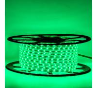 Лента светодиодная зеленая 220V smd2835 48LED/m 6W/m IP65, 1м