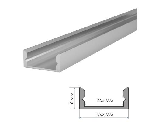 Профиль светодиодный накладной ПФ-18 без покрытия с полумат.рассеивателем (комплект) 2м