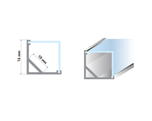 Профиль светодиодный угловой квадратный (комплект) ПФ-9 полуматовый, 2m